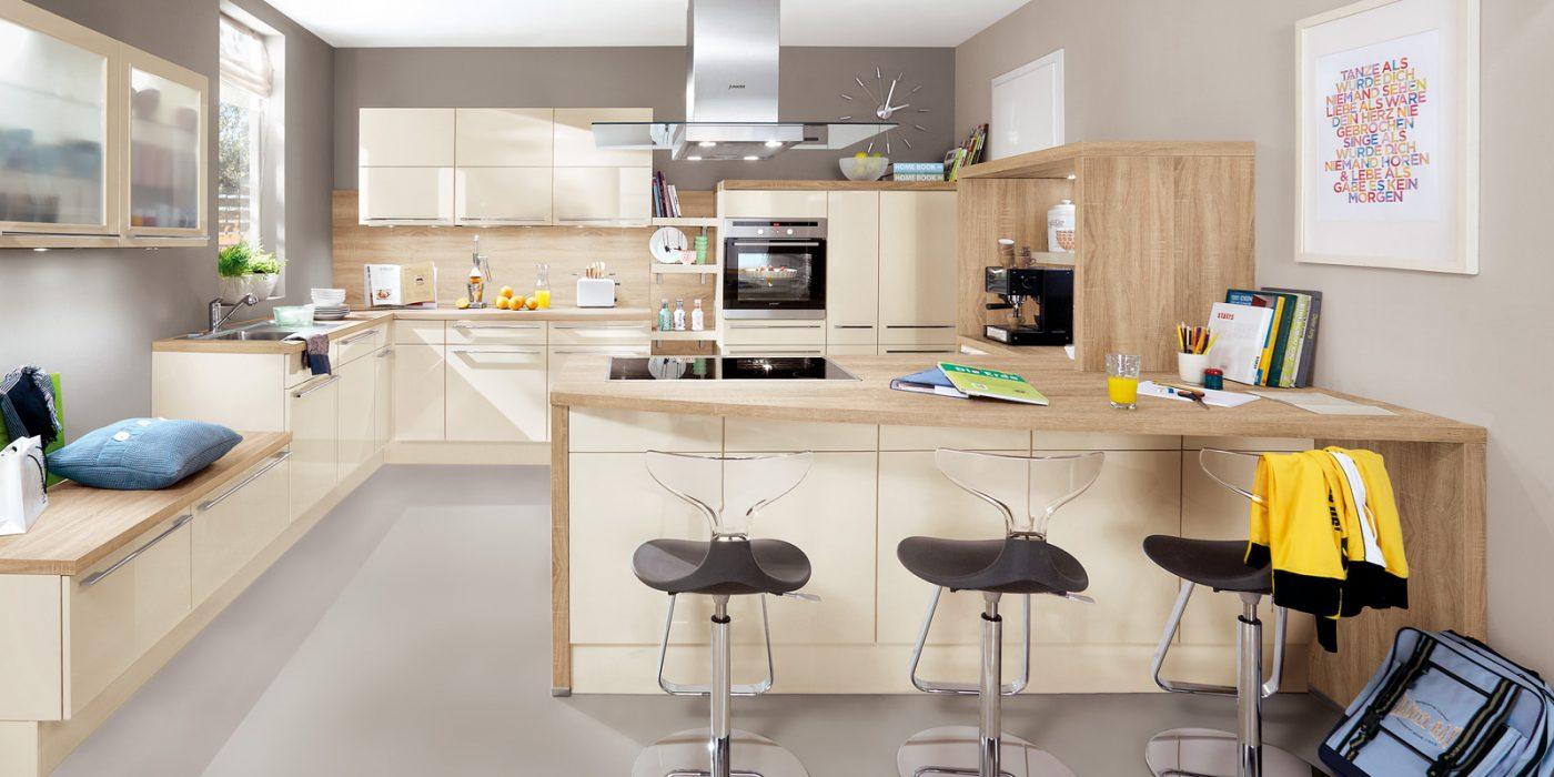 Kuhinja bež barva z kuhinjskim otokom 452 Noblessa Spot