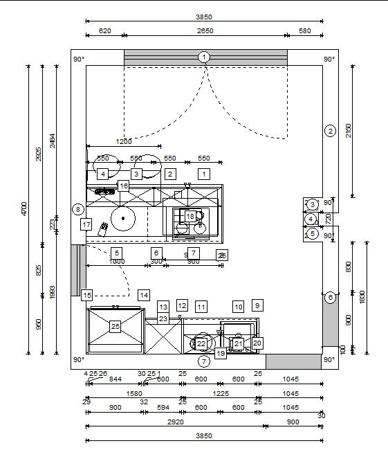 načrt kuhinje